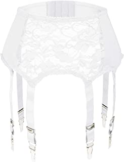Slocyclub Women Lace Garter Belt with 6 Straps Metal Clip Suspender for Stockings/Lingerie