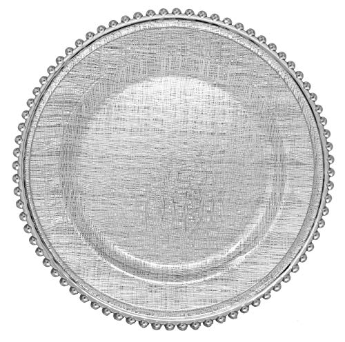 Cross-stitch Pattern Glass Charger 13 Inch Dinner Plate With Beaded Rim - Set of 4 - Silver