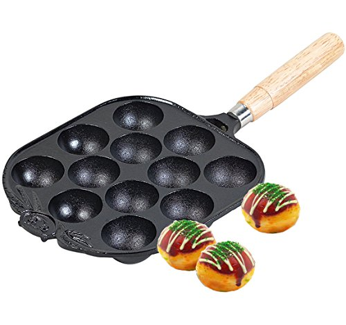 Happy Sales , Cast Iron Takoyaki Pan, 8' L x 7-3/8 D x 1-1/8 H, Black