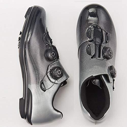RHSMW Fahrradschuhe, Professionelle Mountainbike-Schuhe Selbstsichernde Rennschuhe Atmungsaktive Rotation Geeignet Für Indoor-Cycling,Silber,40