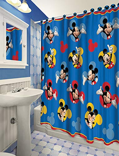 All New Fabric Shower Curtain Set Disney with 12 Matching Hooks (Mickey)
