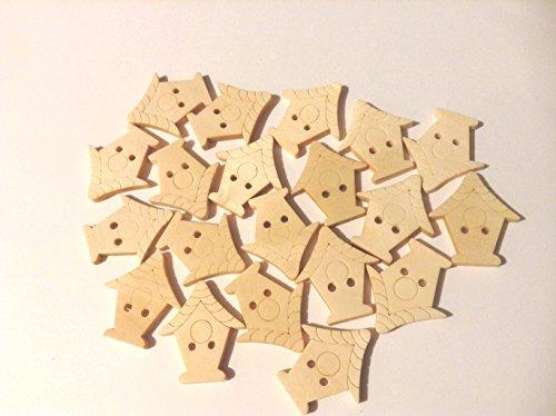 10 stuks platte houten knopen met twee gaten en gevormd als een vogelhuisje. Ideaal voor naaien, knutselen en Scrapbooking. Ze zijn gelakt maar kunnen worden geverfd. Ze zijn ongeveer 25 mm hoog.