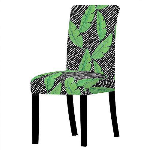 GVJKCZ Fundas para sillas,Hoja de línea Creativa Verde Negro sillas Elásticas y Modernas Funda Asiento...
