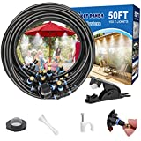 Misters for Outside Patio,50FT Outdoor Misting Cooling System kit for Fan, Porch, Umbrella, Deck, Canopy,Pool.Backyard Misting Systems Mist Hose,Water Misters for Garden,Greenhouse,Yard Waterpark …
