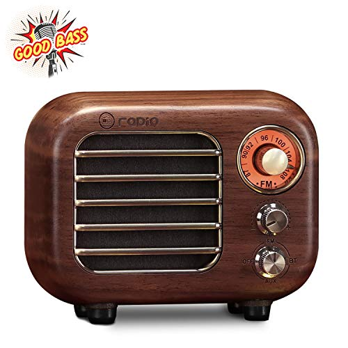 Retro Radio Vintage Bluetooth Speaker-Greadio Walnut Wooden FM Radio with Bluetooth 4.2 Connection, Old Fashioned Classic Style, Loud Volume, Good Bass Sound, TF Card/AUX in for Home, Office, Kitchen