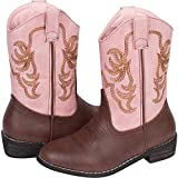 Wild Bear Boots Kids Cowboy Boots Girl and Boy Horseback Riding Boots, Coffee/Pink, 13 Toddler