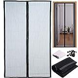 Mosquitera para puerta 210 x 100 cm con imán, cortina mosquitera de 2 piezas para puertas de terraza, balcones, habitaciones de interior y uso exterior