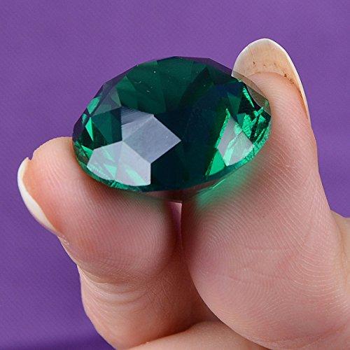 LONGWIN – Lot de 10 diamants de cristal décoratifs, 25 mm de large, couleur unie, vert foncé