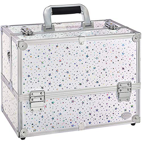 Joligrace Professional Cosmetic Makeup Train Case Star Design 14 Inch Large 6 Trays with Adjustable Dividers and Compartments Travel Storage Organizer Box with Lock and Keys