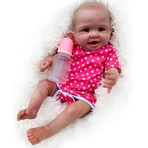 DXFK.AM Wiedergeboren Baby Puppe 55 cm Sanft Vollsilikon Waschbar Gewichteter Körper, Süß Lebensecht Handgemacht Silikon-Puppe Realistisch Badespielzeug Geburtstagsgeschenk-Set,A