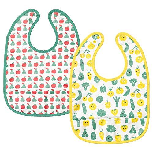 Lätzchen, Obst-Gemüse-Muster, grün-gelb, 2 Packungen, Materialien: 100% Baumwolle, Vorderseite: Synthetikkautschuk