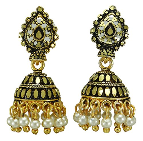 Banithani tono oro indiano tradizionale donne Jhumki orecchino set designer di gioielli etnici, Lega, colore: Gold (Design#2), cod. BSE7046A