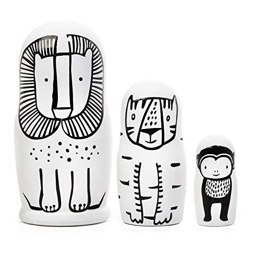 Wee Gallery, Set of 3 Nesting Dolls - Wild - Lion, Tiger, Monkey
