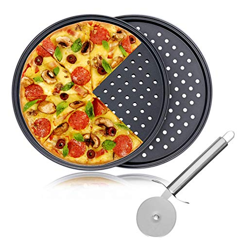 Pizza Baking Set, 12' Serving Plate Pizza Tray Tin, Oven Grill Rack Non Stick Trays, 2 Pack Pizza Crisper Tray and 1 Pack Pizza Cutter Wheel