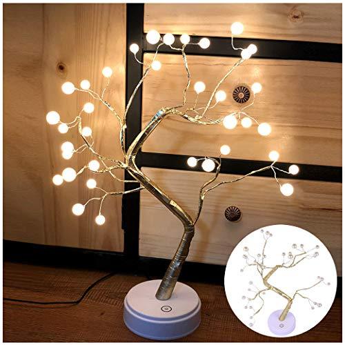 VNEIRW LED Lichterbaum Blütenbaum Topfpflanze Lampe Baumform Lichter Gypsophile Lichter mit 36 LED Lampenperlen, USB/Batterie - Tolles Geschenk (weiß)