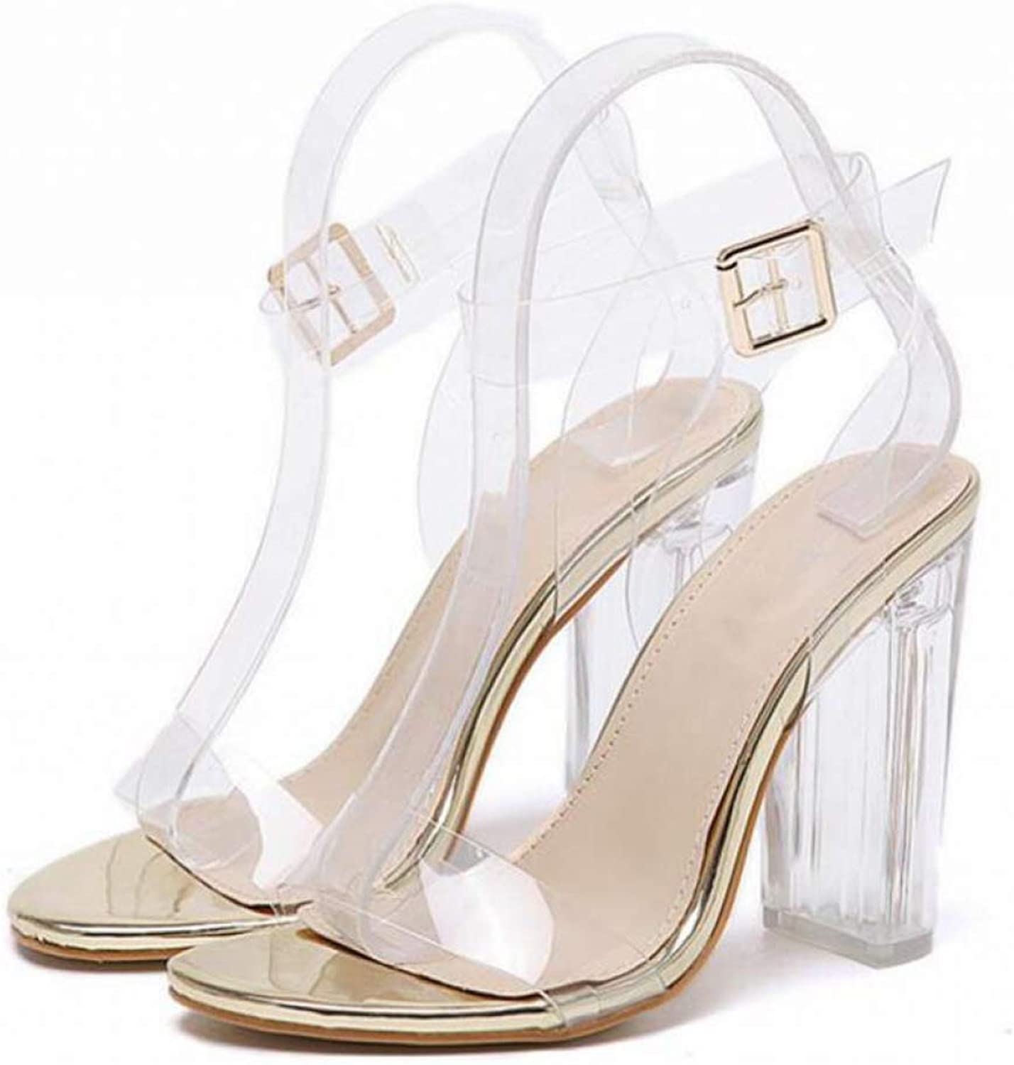T-JULY Women's Sandal Waterproof Platform Crystal Transparent Open Toed High Heels Ladies Sexy shoes for Summer