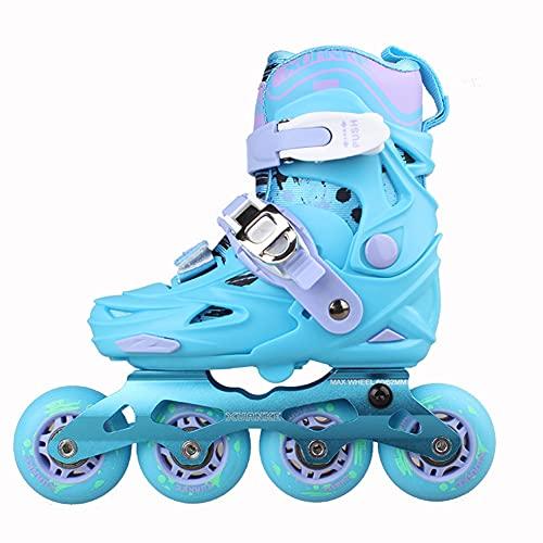 DLBJ Patines en Linea Tamaño Ajustables Profesionales para Adultos y Niños, Protección incluida de Regalo 4 Ruedas Skates Rollers para Mujer y Hombre