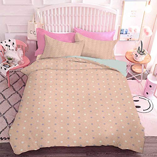 Hiiiman Home Decor Textile Romantic Vintage Clásico en los años 50 60 con estampado de puntos (3 unidades, tamaño California King), 1 funda de edredón y 2 fundas de almohada