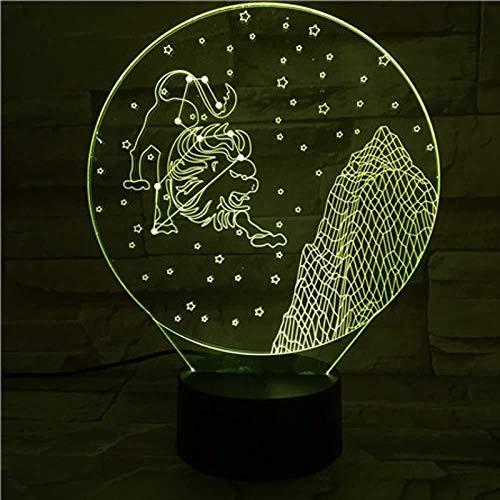 Diaporama 3D-Diaporama, 12 sterren, 3D-illusie, visuele illusie, nachtlampje, stercadeau voor liefhebbers van astronomie, party, Kerstmis, verjaardagscadeau, weegschaal, Leo