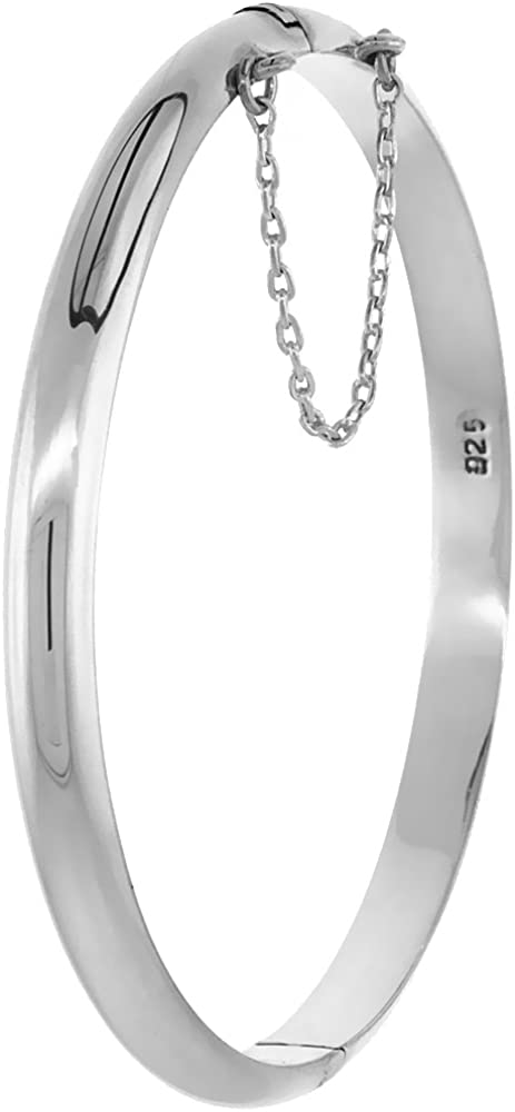 Sterling Silver Bangle Bracelet High Polished Thin 3/16 inch Wid