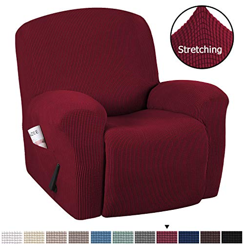 H.VERSAILTEX Stretch Recliner Slipcovers 1-Piece Durable Soft High Stretch Jacquard Sofa Furniture Cover Form Fit Stretch Stylish Recliner Cover/Protector (Recliner, Burgundy Red)