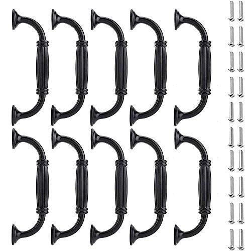 10 piezas Tirador de Armario Negra,Tiradores de muebles,Tirador de armario de metal,con 20 tornillos, para armarios,zapateros, librerías, cajones,128 mm