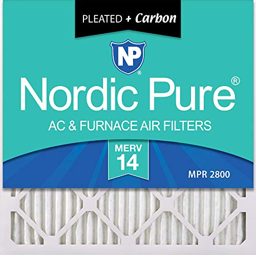 Nordic Pure 20x20x1 MERV 14 Plus Carbon Pleated AC Furnace Air Filters, 20x20x1M14+C -6, 6 Pack