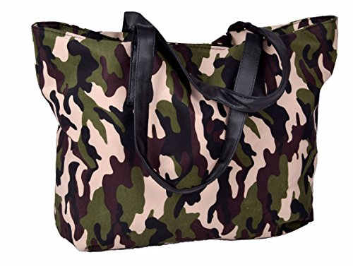 Iwea Damen Shopper Camouflage Schultertasche Handtasche Groß Shopping Bag in Army Muster Military Print 50x30 cm