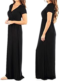 Women's Summer Cold Shoulder Tunic Top Swing T-Shirt Blouse Loose Dress with Pockets S