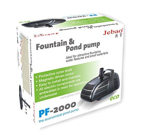 Jebao PF2000 – Bomba de agua para estanque (accesorios de fuente, 2,000 l/h)