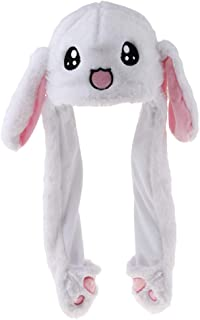 D DOLITY Rabbit Hat Ear Moving Jumping Hat Funny Bunny Plush Hat Cap For Women Girls
