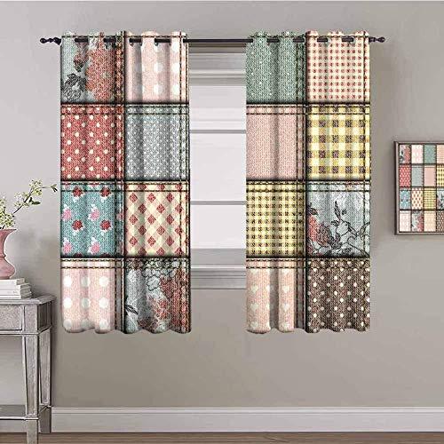 Nileco Undurchsichtiger Vorhangvorhang mit Ösen - Retro kariert klassisch Muster - 160x160 cm - 2 Stück Verdunkelungsvorhänge, Thermovorhang für Kinderzimmer und Wohnzimmer, Vorhänge