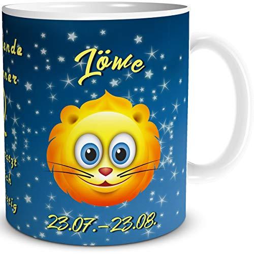 TRIOSK Tasse Smiley mit Spruch lustig Sternzeichen Löwe Geburtstagstasse Geschenk für Frauen Männer Kollegen Geburtstag