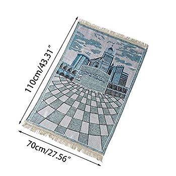 suoryisrty Tapis de prière Musulman Portable Polyester Tressé Tapis de Voyage Accueil Couverture Imperméable 110x70CM