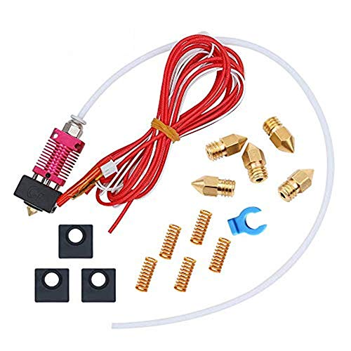 Creality Assembled MK8 Hotend Kit, 24V 40W Ender3/ Ender 3 Pro 3D Printer Hot End for 1.75mm Filament with 5PCS Heated Bed Leveling Die Spring, 5PCS 0.4mm Nozzles, 3PCS Silicone Covers