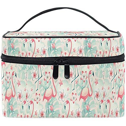 Flamingo Flower Cosmetic Bag Cartoon Flamingo Travel Cosmetic Brush Bag Storage Organizer Large for Women
