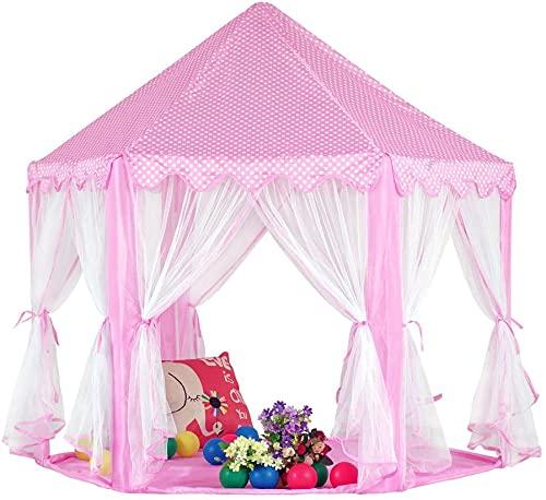 Tienda de campaña para niños Castillo Princesa Play Tulle Tents Toy House Playhouse para niñas sala de lectura (tienda rosa)