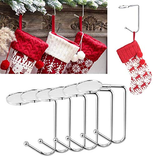 Yotako 6 Pieces Christmas Stocking Holders Mantel Hooks Hanger Christmas Stocking Clips Safety Grip for Christmas Party Decoration and Hanging Handbags,Sliver