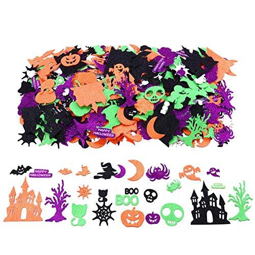 Halloween Glitter Foam Craft Stickers, 500 Pieces Self-Adhesive Pumpkin Stickers Party Decoration Stickers for Kids Pumpkin Decorating Kit