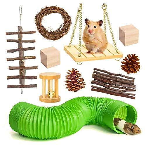 BHSHUXI Juego de juguetes para masticar hámster, 10 juguetes de conejo, juguetes de conejo, chinchilla, juguetes masticables de madera natural