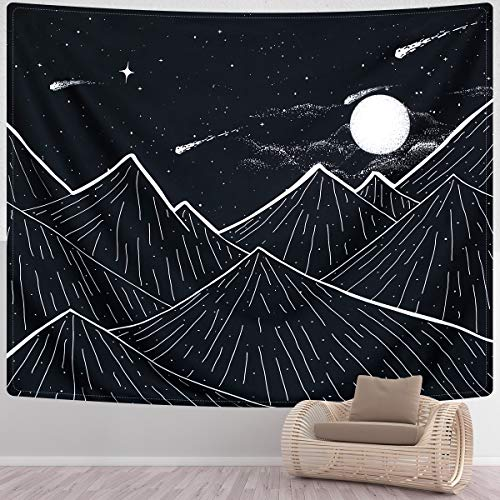 SENYYI Mountain Tapestry Wall Hanging Black and White Art Tapestry Moon Stars Tapestry Starry Night Sky Home Decor for Room (59.1 x 82.7 inches)