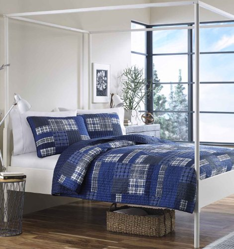 Eddie Bauer Home   Eastmont Collection   100% Cotton Reversible & Light-Weight Quilt Bedspread with Matching Sham, 2-Piece Bedding Set, Pre-Washed for Extra ComfortTwinBlue