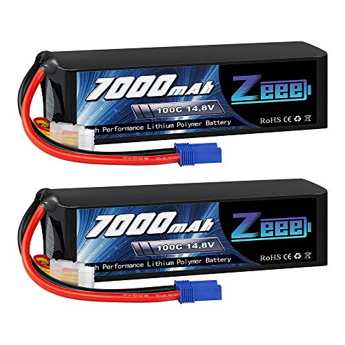 Zeee 14.8V Lipo Battery 4S 100C 7000mAh Soft Case Battery with EC5 Connector for Traxxas X-Maxx RC Truck Tank RC Car Racing Hobby (2 Packs)