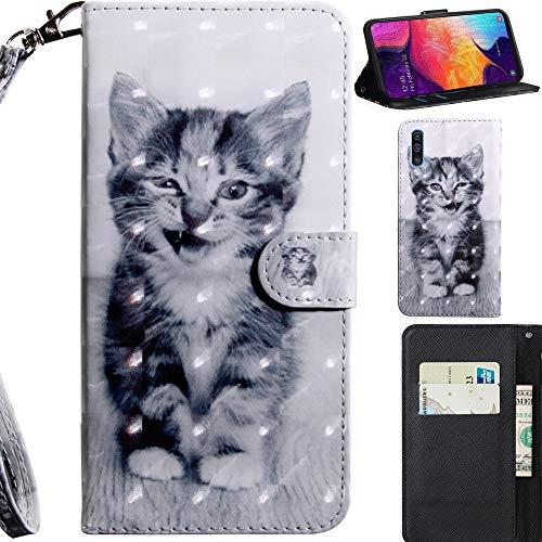 DodoBuy 3D Hülle für Samsung Galaxy A50, Flip PU Leder Schutzhülle Handy Tasche Brieftasche Wallet Hülle Cover Ständer mit Kartenfächer Trageschlaufe Magnetverschluss - Katze