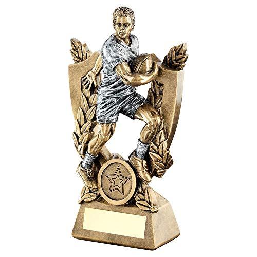 Lapal Dimension BRZ/Pew - Trofeo de Rugby con Escudo y Corona (1 en el Centro) - 5.5 Pulgadas