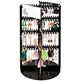 DeisgnSter 360° Rotating Earring Organizer - Premium Acrylic Large 368 Hanger 4 Tier Earring Holder Necklace Bracelet Jewelry Display Rack Stand Tower with 2 Mirror (Black)