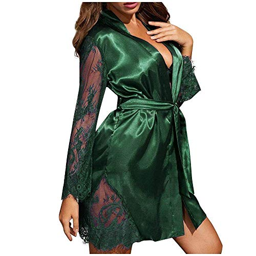 YUHOOE Mujer Bata para Saté,Albornoz De Satén Sexy Bata De Encaje Kimono Hueco Babydoll Camisón Moda Lencería Noche Mini Vestido Ropa De Dormir Verde, L