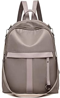 Pure Color Casual Backpack Travel School Shoulder Bag Daypack (Color : Khaki)