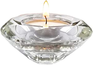 AiFanS Tea Light Holders Glass,Tea-Light Crystal Candle Holders for Table(Clear,7.5cm,Set of 6)