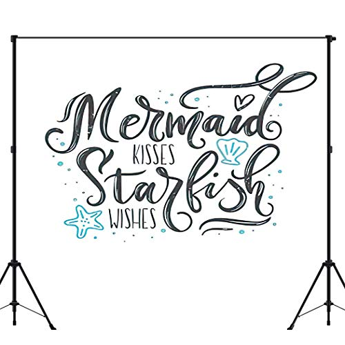 Backdrop Photography Background Mermaid Kisses Starfish Wishes Quote with Sea and Lettering Summer Photo Backdrop for Portrait and Video Shooting Photo Studio Photographer Props 6X8ft